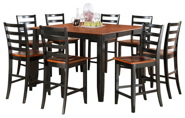 7 Piece Pub Table Set- Square Counter Height Table And 6