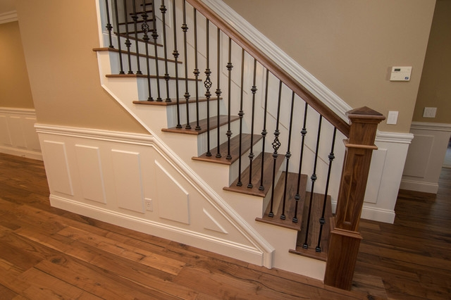 Wrought Iron Open Wood Tread Stairs Traditional   Open Tread Staircase Designs