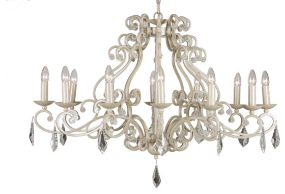 Barozzi Small 12 Bulb Chandelier Ivory Traditional Chandeliers