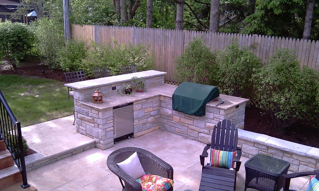 Fireplace, Built-In-Grill with Bar - Traditional - Patio ... on Built In Grill Backyard id=74150