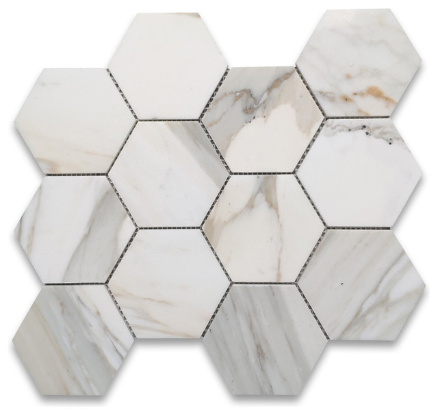 calacatta gold marble 4 inch hexagon mosaic tile polished