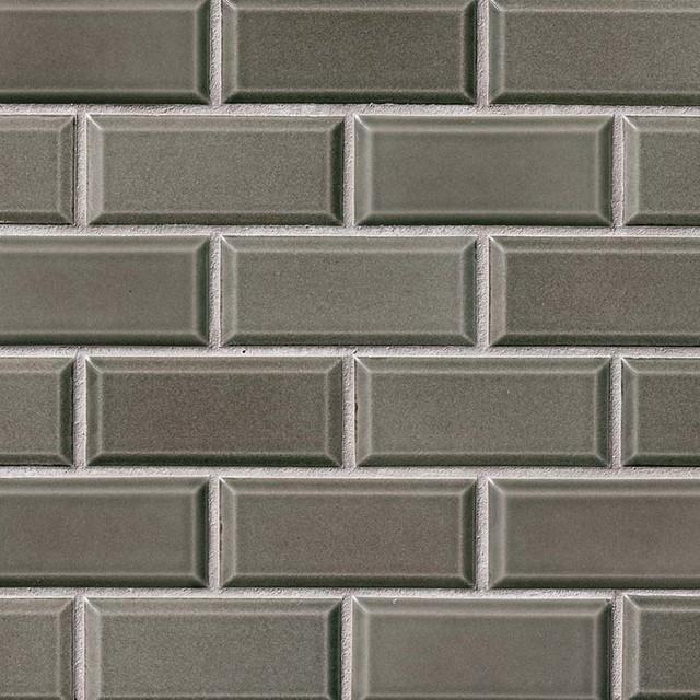 charcoal bevel glossy subway ceramic tile sample