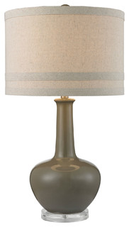 Ceramic Table Lamp, Gray Glaze and Acrylic