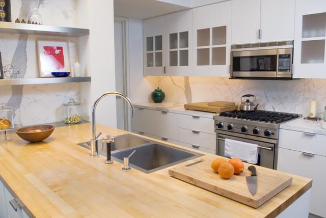Flush Mount Sink On Butcher Block Contemporary Kitchen