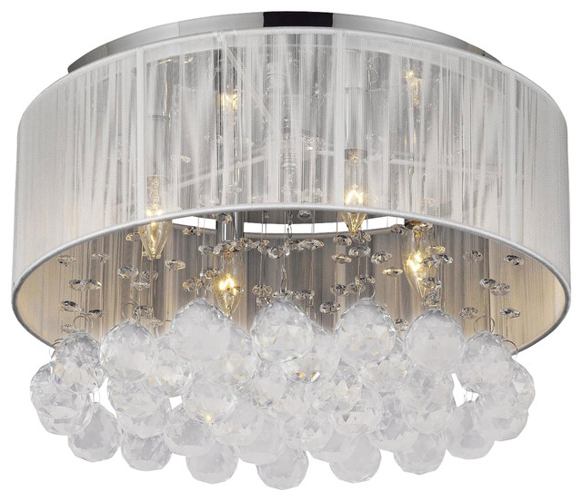 Flush Mount With 4 Light Chrome And White Shades Crystal Chandelier Traditional Chandeliers