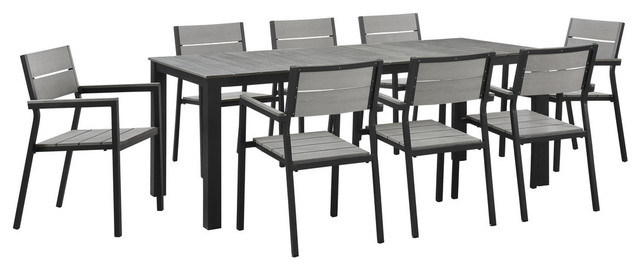 Modern Urban Contemporary Set Of 9 Outdoor Patio Dining Set Brown Gray Steel Contemporary Outdoor Dining Sets By House Bound Houzz