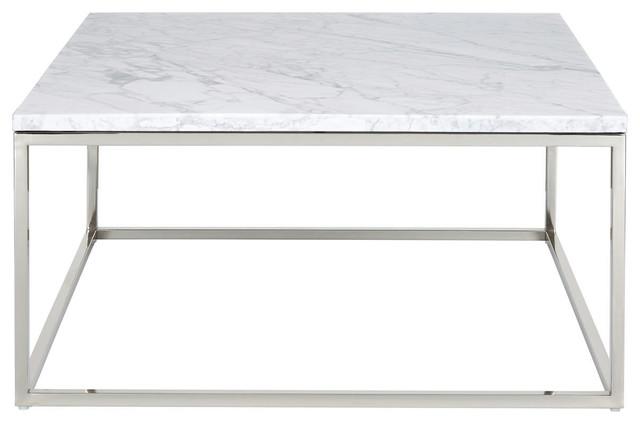 palliser furniture julien square cocktail table chrome base white marble top