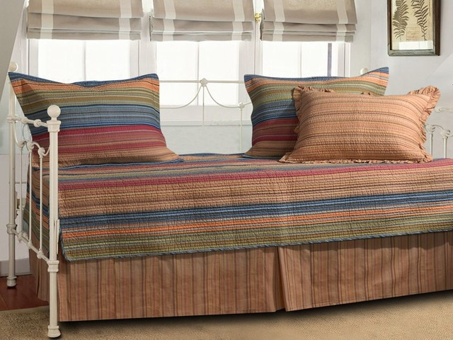reversible 5 piece daybed set with bed skirt and three pillow shams