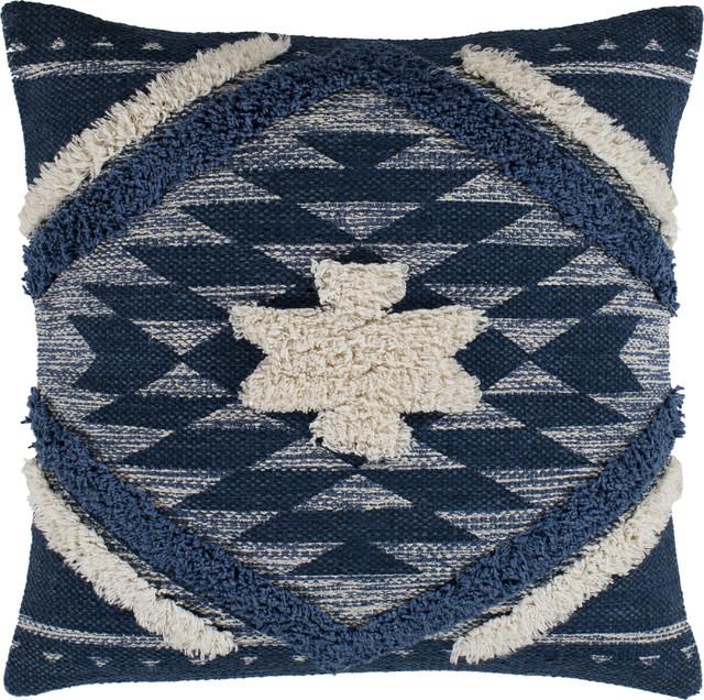 lachlan pillow denim navy cream pale blue down feather 18 x18