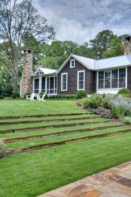 From Pre-Fab to Farmhouse - Farmhouse - Landscape ... on Farmhouse Backyard Landscaping id=76776