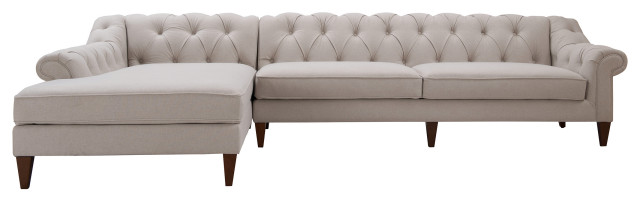 alexandra chesterfield tufted left facing sectional sofa with chaise 132 ligh
