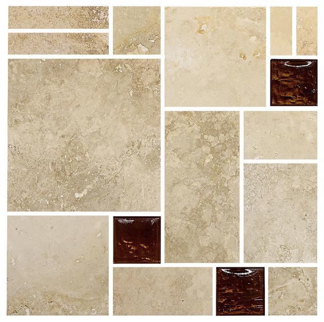 travertine brown glass mosaic kitchen backsplash tile 12 x12