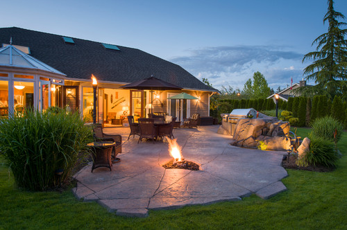 Serene Backyard in Surrey with Fire Pit, Eating Area and Built in BBQ