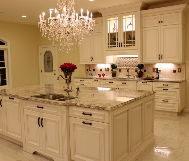 Kitchen Colors With Antique White Cabinets: Sienna Bordeaux Granite Countertops