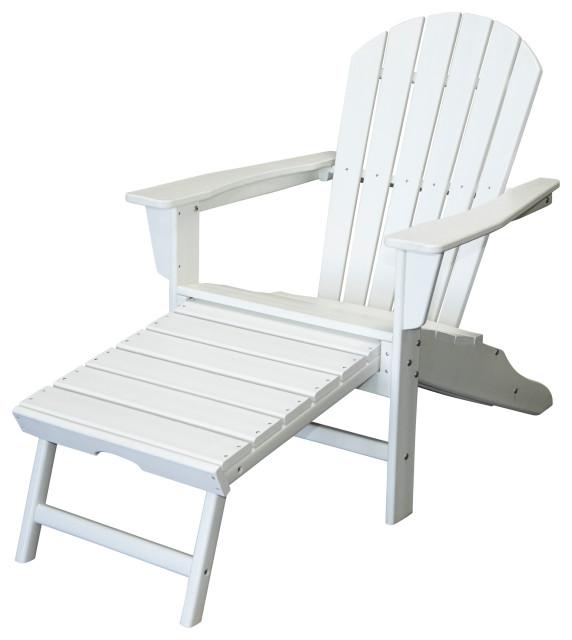 hampton patio adirondack chair with hideaway ottoman white single