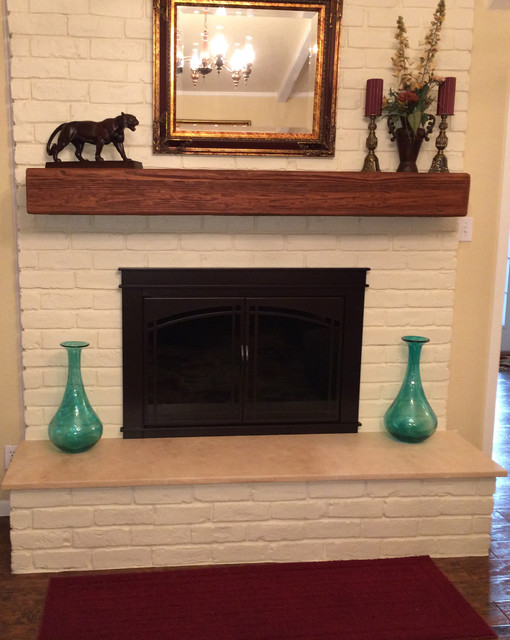 Fireplace Mantels Faux Wood Transitional Living Room
