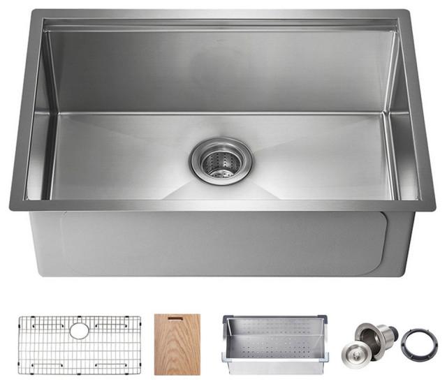 kibi undermount single bowl workstation sink stainless steel 28