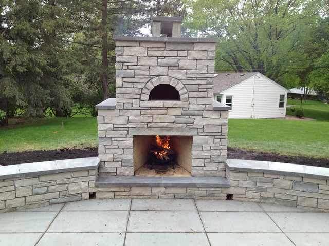 Outdoor Fondulac Stone Fireplace and Pizza Oven in St ... on Outdoor Patio With Pizza Oven  id=22108