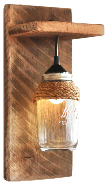 Barn Wood Mason Jar Light Fixture - Wall Sconce, With Rope ... on Wood Wall Sconces id=46616