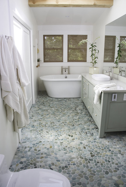 Island Stone Perfect Pebble Floor Modern Bathroom