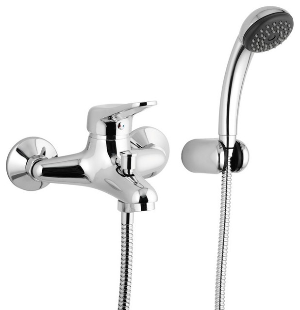 wall mounted single lever bath mixer with bracket and hand shower