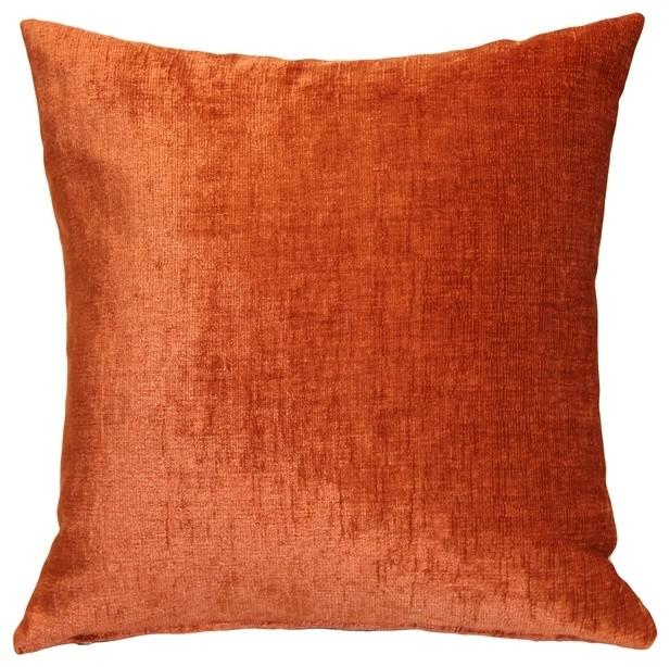 Pillow Decor Venetian Velvet Earthen Orange Throw Pillow 20x20 Contemporary Decorative Pillows By Pillow Decor Ltd