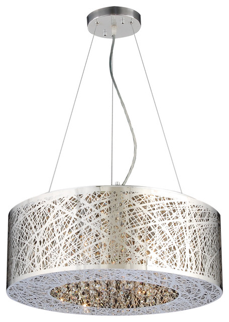 Nest 6 Light Pendant Polished Chrome Contemporary Lighting
