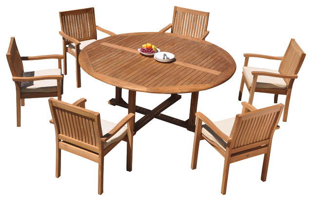 7 piece outdoor teak dining set 72 round table 6 wave stacking arm chairs