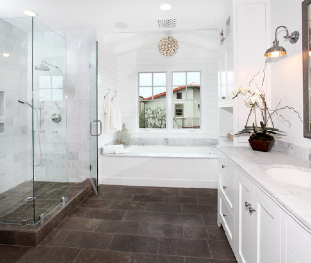 Bathroom Traditional Brown Floor Bathroom Idea In Orange County With An Undermount Sink Shaker