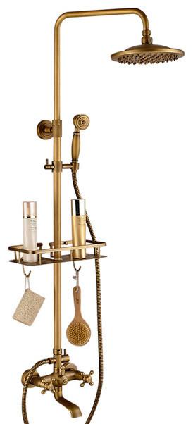 naples antique brass shower set with hand shower