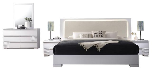 athens white lacquer 5 piece platform modern bedroom set queen