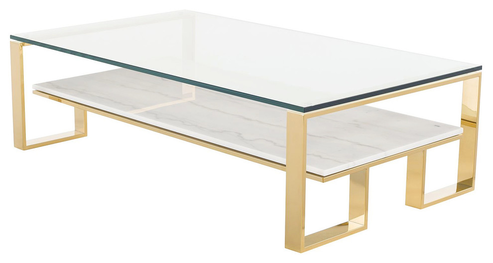 Tierra Gold Glass Top Coffee Table Contemporary Coffee Tables By Mod Space Furniture