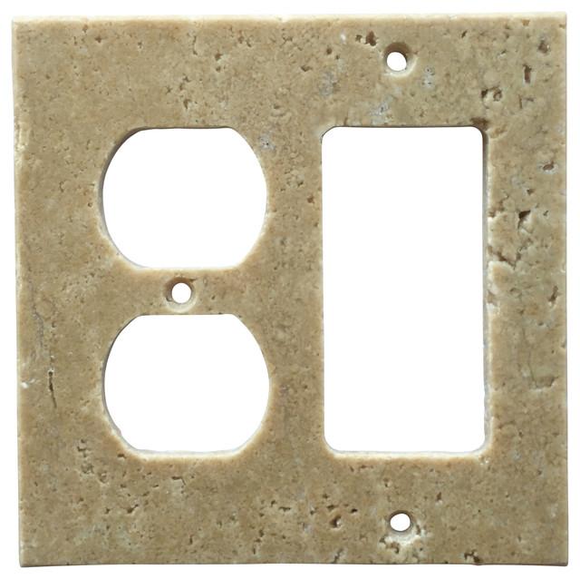 light walnut travertine switch plate cover rocker duplex 4 5 x5 5