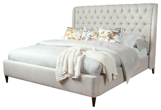 Kara Hollywood Regency Button Tufted Fawn Linen Queen Bed