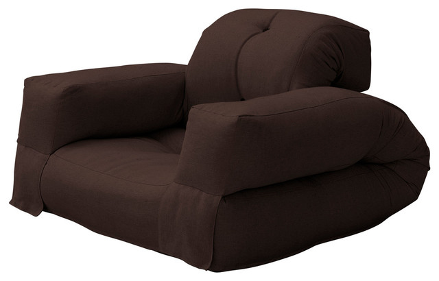 Hippo Convertible Futon Chair Bed Chocolate Mattress Contemporary Sleeper Chairs