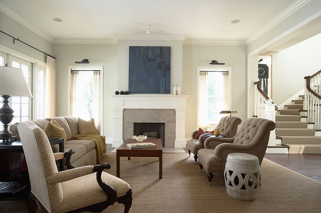 Elegant And Casual Living Room With Fireplace