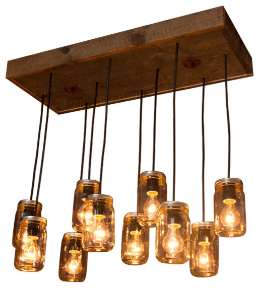 Mason Jar 10 Light Chandelier With Reclaimed Wood Rustic Chandeliers
