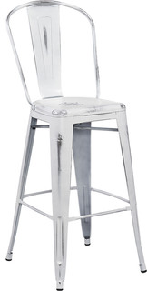 Lansing Distressed Metal Indoor/Outdoor Bar Stool, White