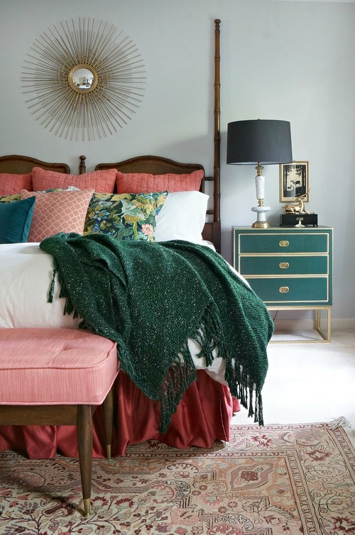 Master Bedroom in Green and Coral