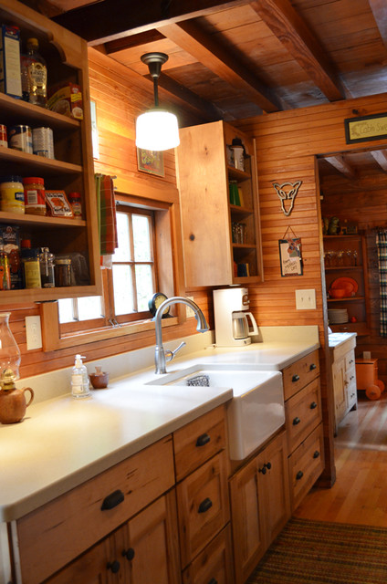 Rustic Cabin - Galley Kitchen - Rustic - Kitchen ... on Rustic:mophcifcrpe= Cottage Kitchen Ideas  id=75304