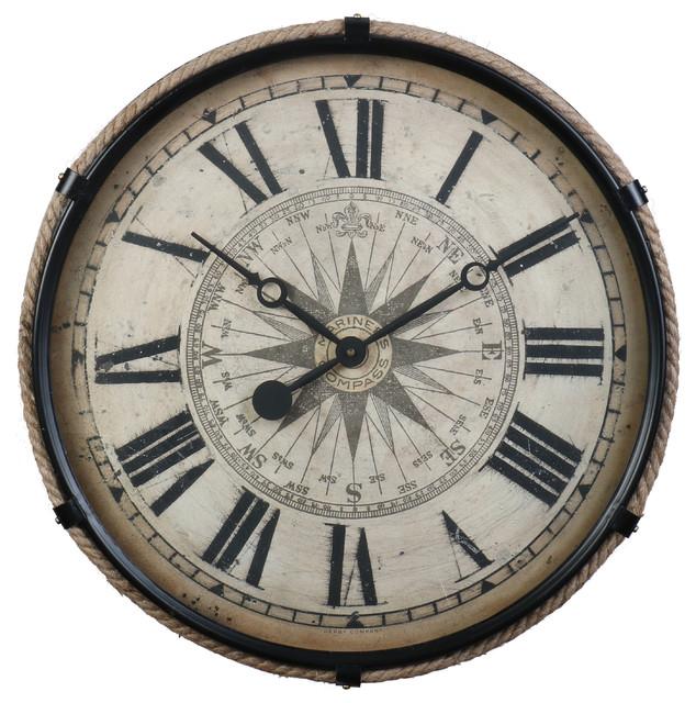 Derby Compass Wall Clock Beach Style Wall Clocks By