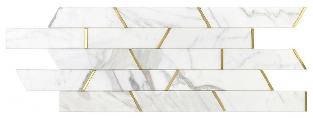 matrix trapezoid marble and brass tile sample