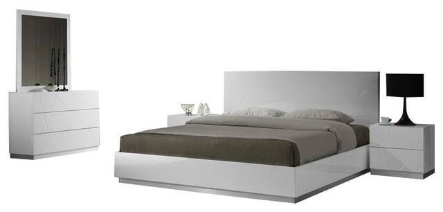 naples 5 piece modern bedroom set white king
