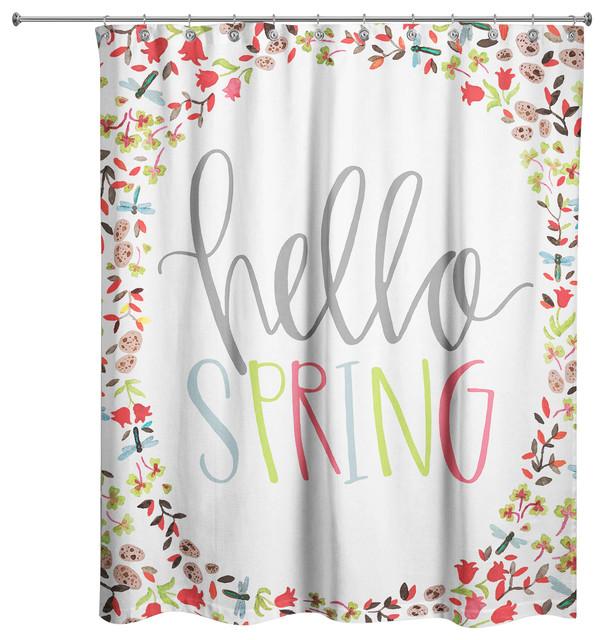 hello spring shower curtain