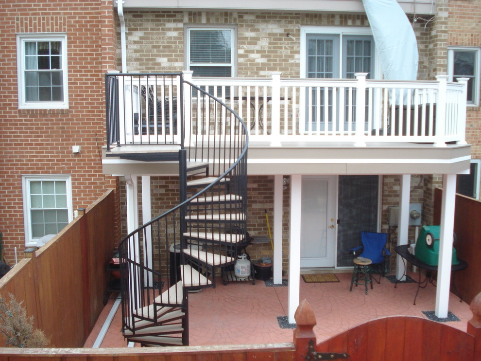 Deck Spiral Staircase Traditional Deck Baltimore By   Spiral Stairs Off Deck   Railing   Wood Deck   Metal   Stair Case   Stairway