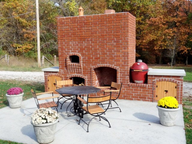 Outdoor pizza oven in brick, wood fired - Traditional ... on Outdoor Patio With Pizza Oven  id=49788