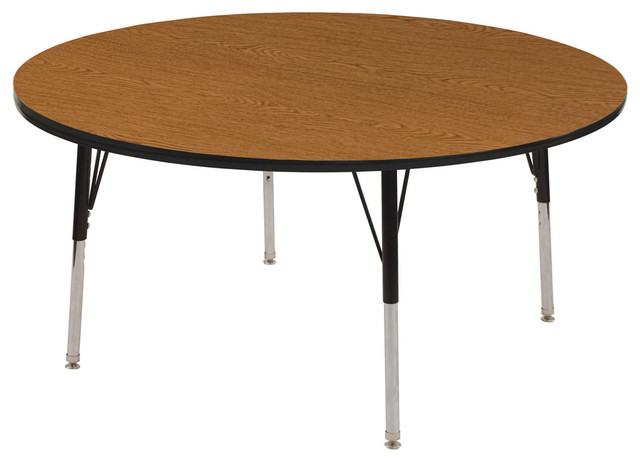 "48"" Round Adjustable Activity Table Oak/Black"