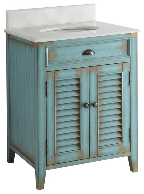 "abbeville bathroom sink vanity, distressed blue, 26"" - farmhouse"