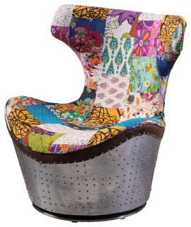Hunter Multi Colored Whimsical Patch Work Fabric Swivel Chair Eclectic Armchairs And Accent