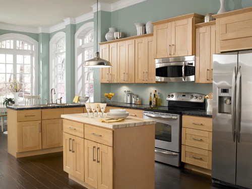Love this wall color with the Maple cabinets and dark wood ... on Dark Maple Cabinets  id=82635